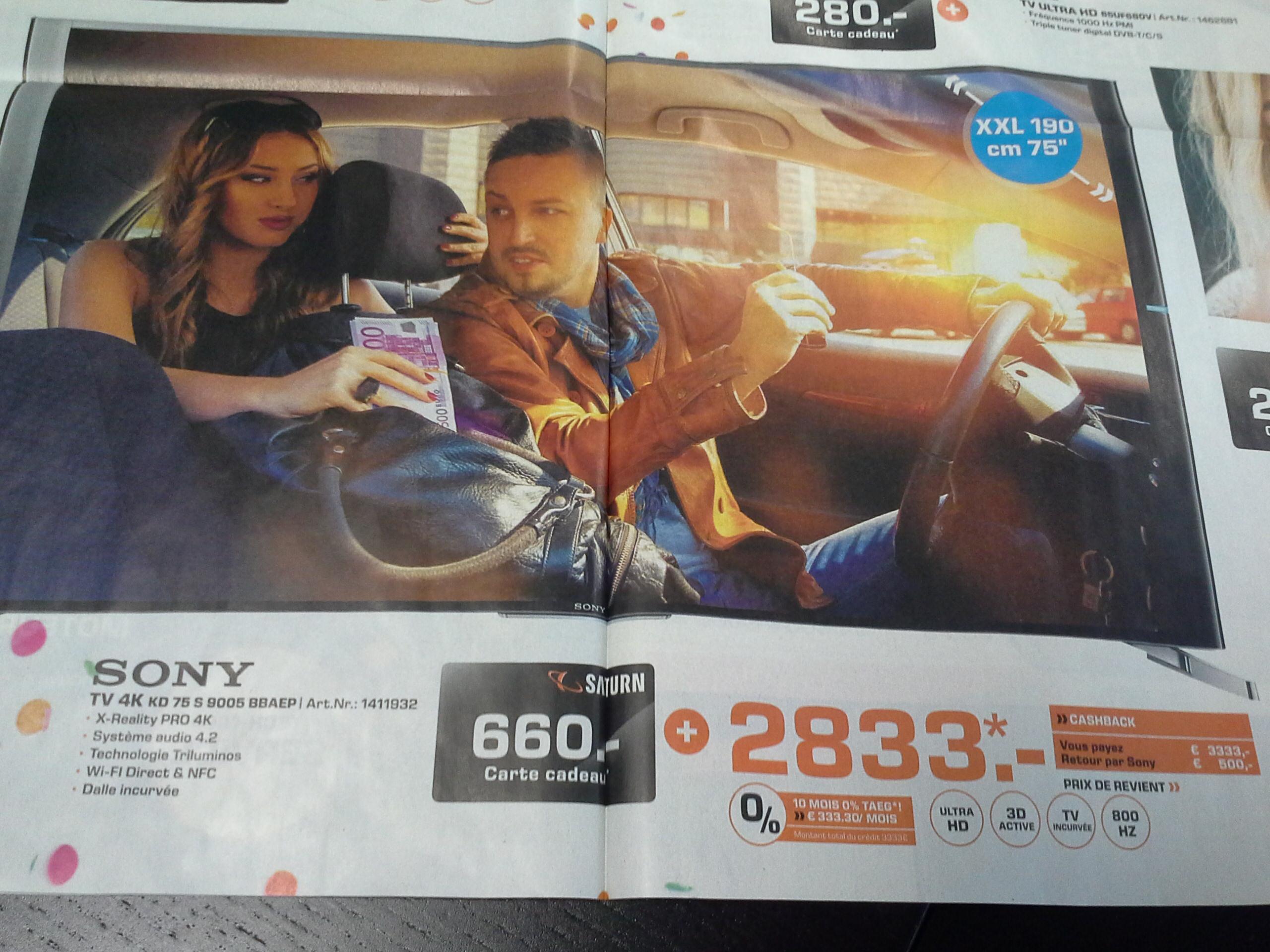 "TV 75""  Sony KD75S9005B - UHD - 3D - 100Hz  (+ 660€ de carte cadeau)"