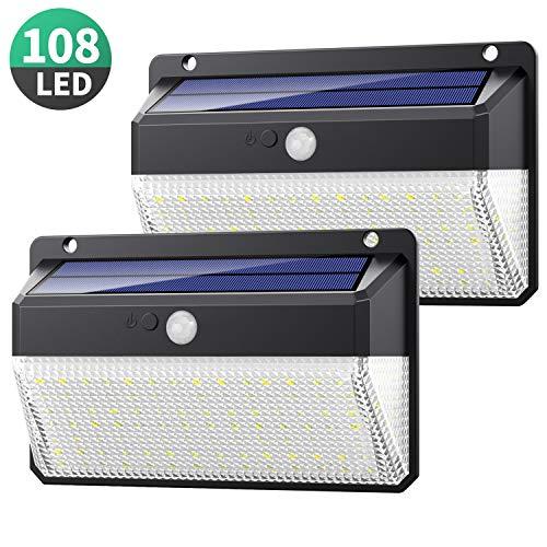 Pack de 2 Lampes Solaire Extérieur 108 LED étanches, IP65 (Vendeur tiers)