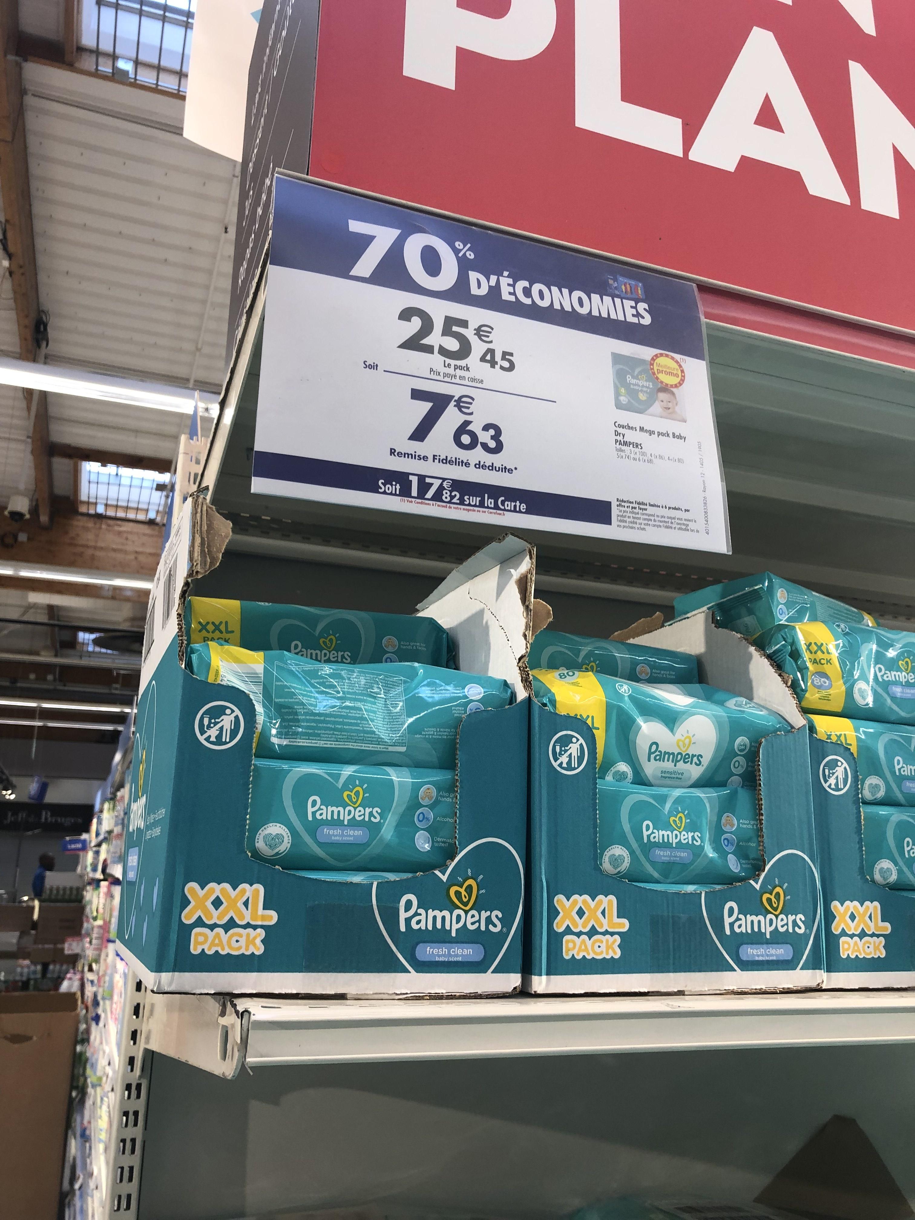 [Carte Fidélité] 70% de remise sur les couches Pampers - Ex : Mega Pack Baby Dry (Via 17.82€ sur la Carte) - Saint-Brice-sous-Forêt (95)