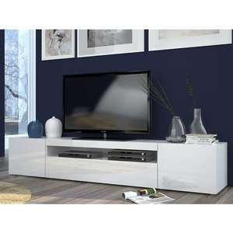 Meuble TV Techno - 200.1x40x36.2 cm, blanc ou noir