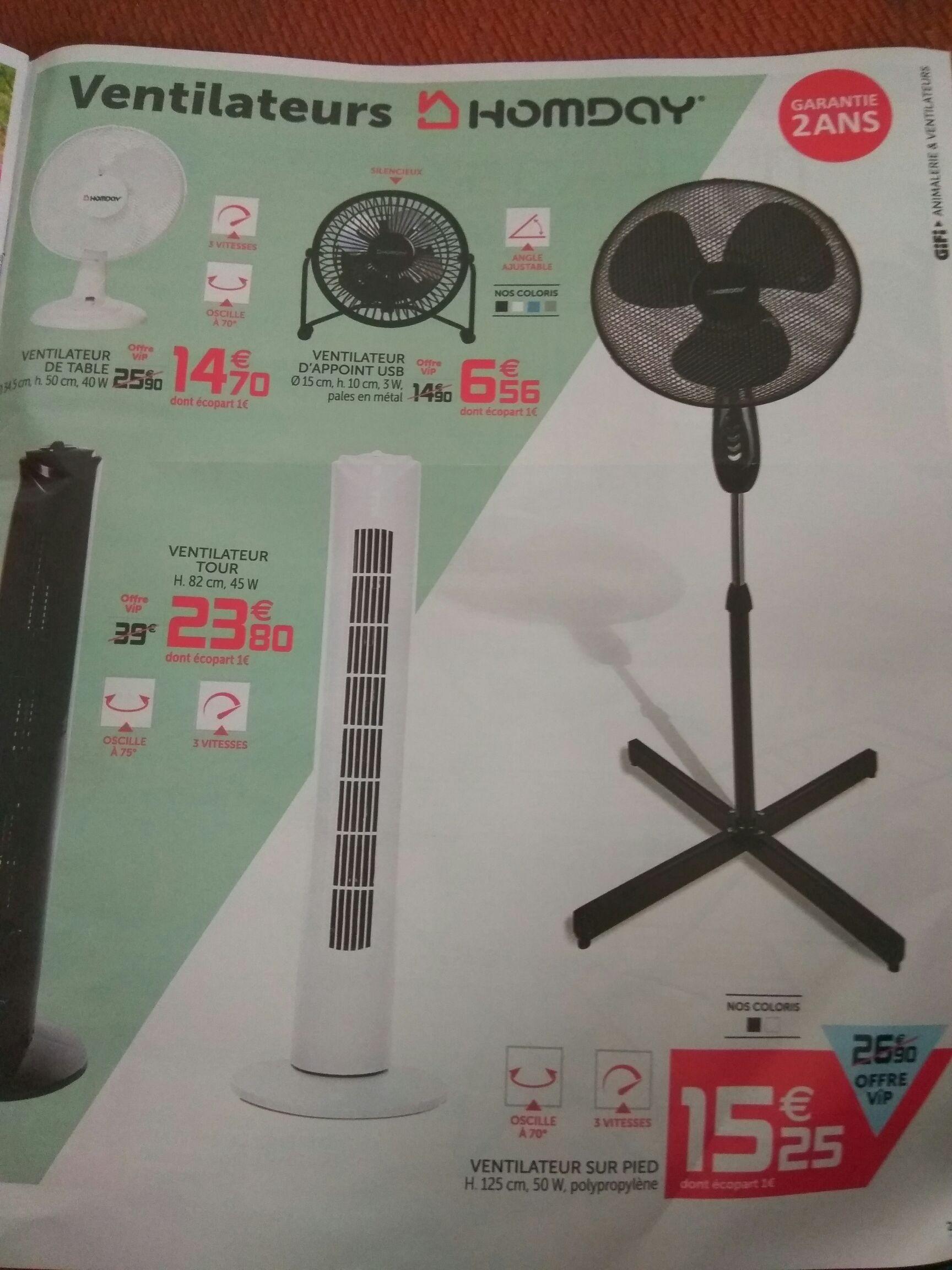 [Carte de fidélité] Ventilateur sur pied Homday - 3 vitesses, 125 cm, blanc ou noir