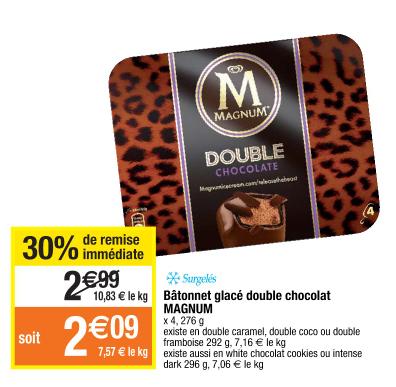 Boîte de 4 Glaces Double Magnum Double Chocolat (via BDR)