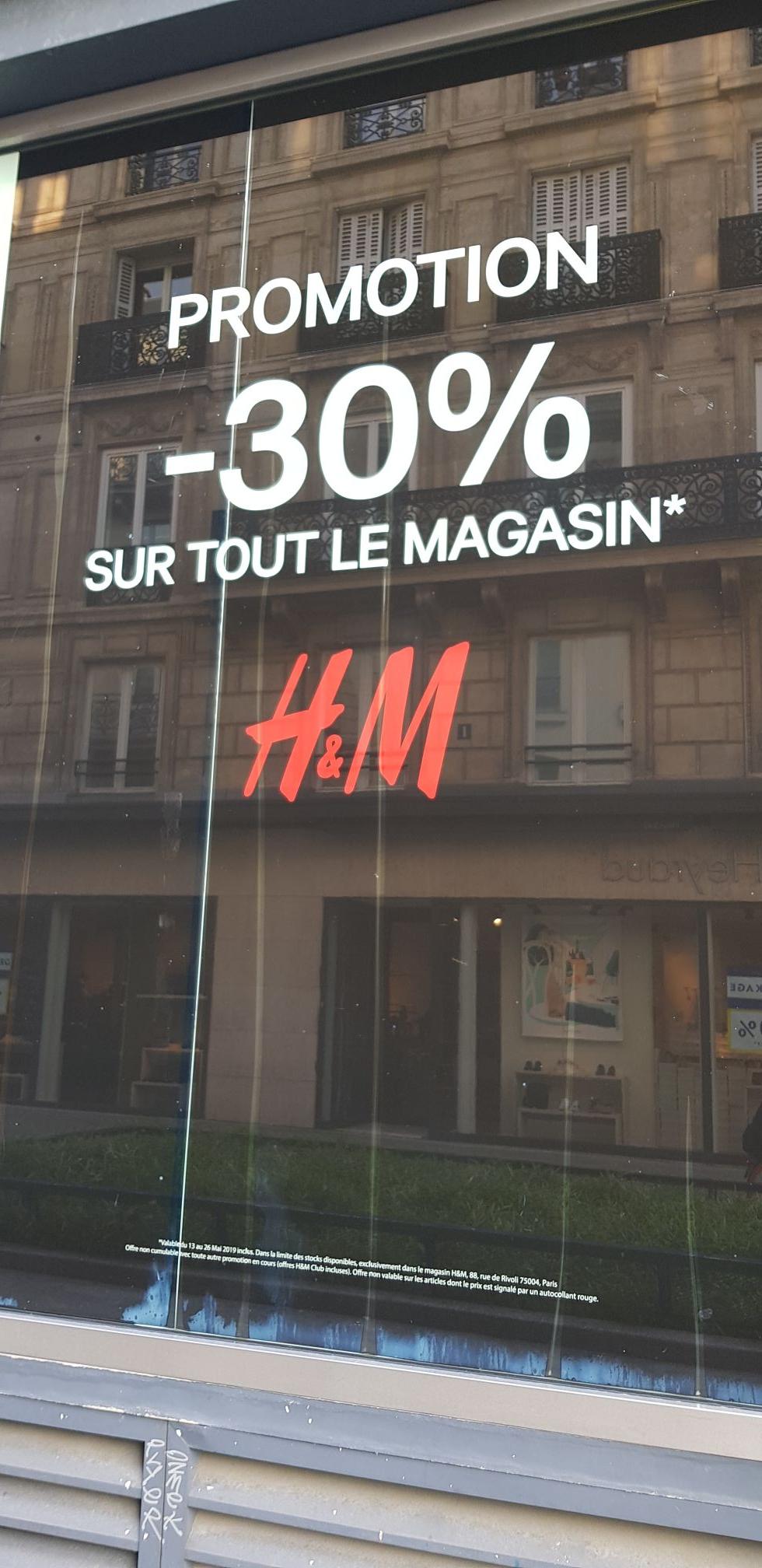 -30% sur tout le magasin - Paris Rivoli (75)