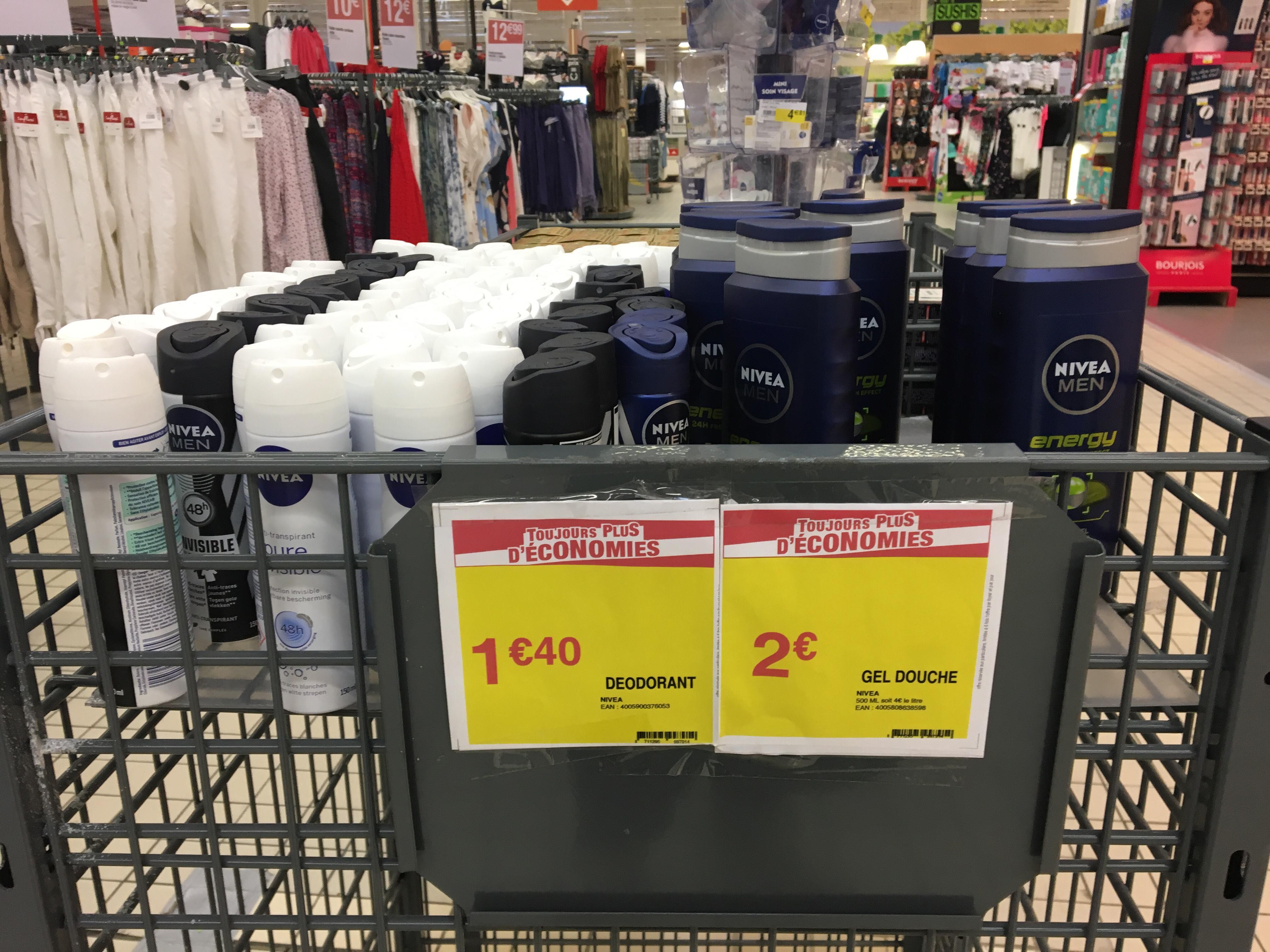 Sélection de gels douche (500ml) et déodorants (150ml) Nivea Men à partir de 1.40€ - Montbéliard (25)