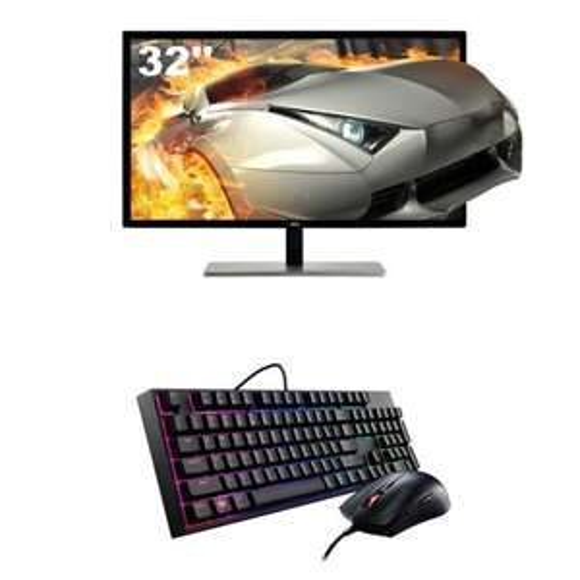 "Ecran PC 31.5"" AOC Q3279VWF - 5ms, Dalle TFT VA, QHD (2560 x 1440) + Pack clavier et souris MasterKeys Lite"