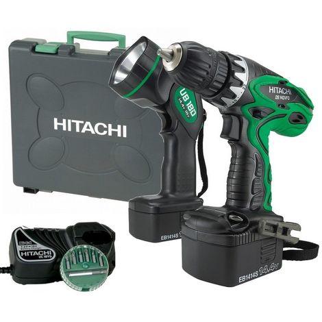 Perceuse visseuse 14.4 V DS14DVF3LB HITACHI - HIKOKI + lampe + 2 batteries 2.0 AH + pack 17 embouts + coffret