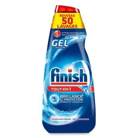 Lot de 2 bouteilles de gel nettoyant lave vaisselles Finish Gel tout en 1 (2x1l) - Villars (42)