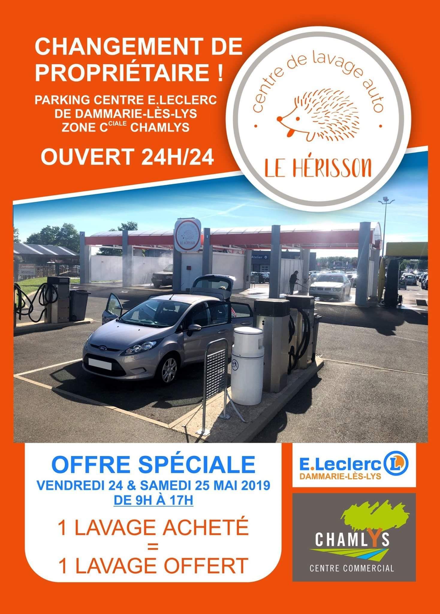 1 lavage acheté = 1 lavage offert - Station Le Herisson parking Leclerc Dammarie-les-Lys (77)