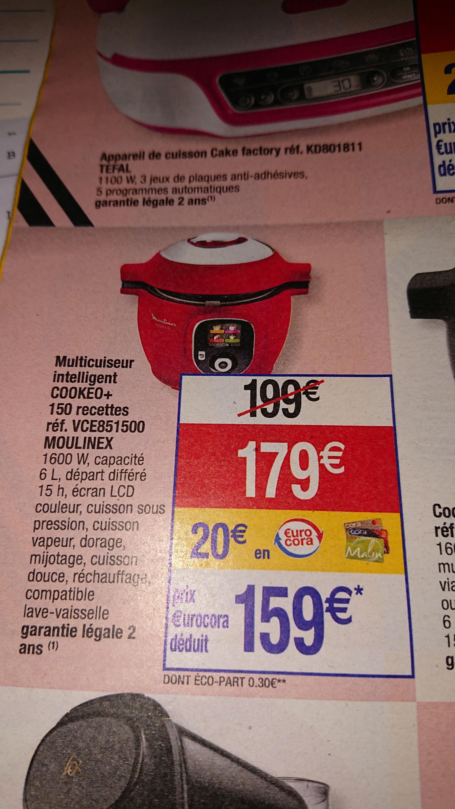 Multicuiseur Moulinex Cookeo CE851500 + 150 Recettes (avec 20€ en euroCora)