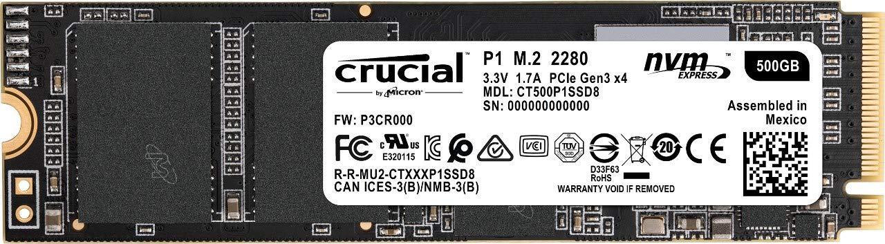 SSD interne Crucial P1 M.2 PCIe, 500 Go (NVMe)