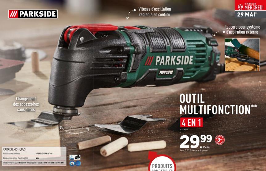 Outil multifonction 4 en 1 Parkside + accessoires inclus