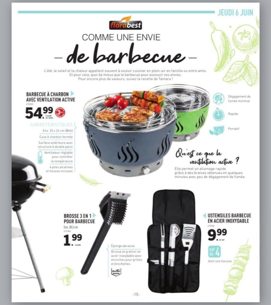 Barbecue à charbon avec ventilation active Florabest - en acier inox, 35x24 cm