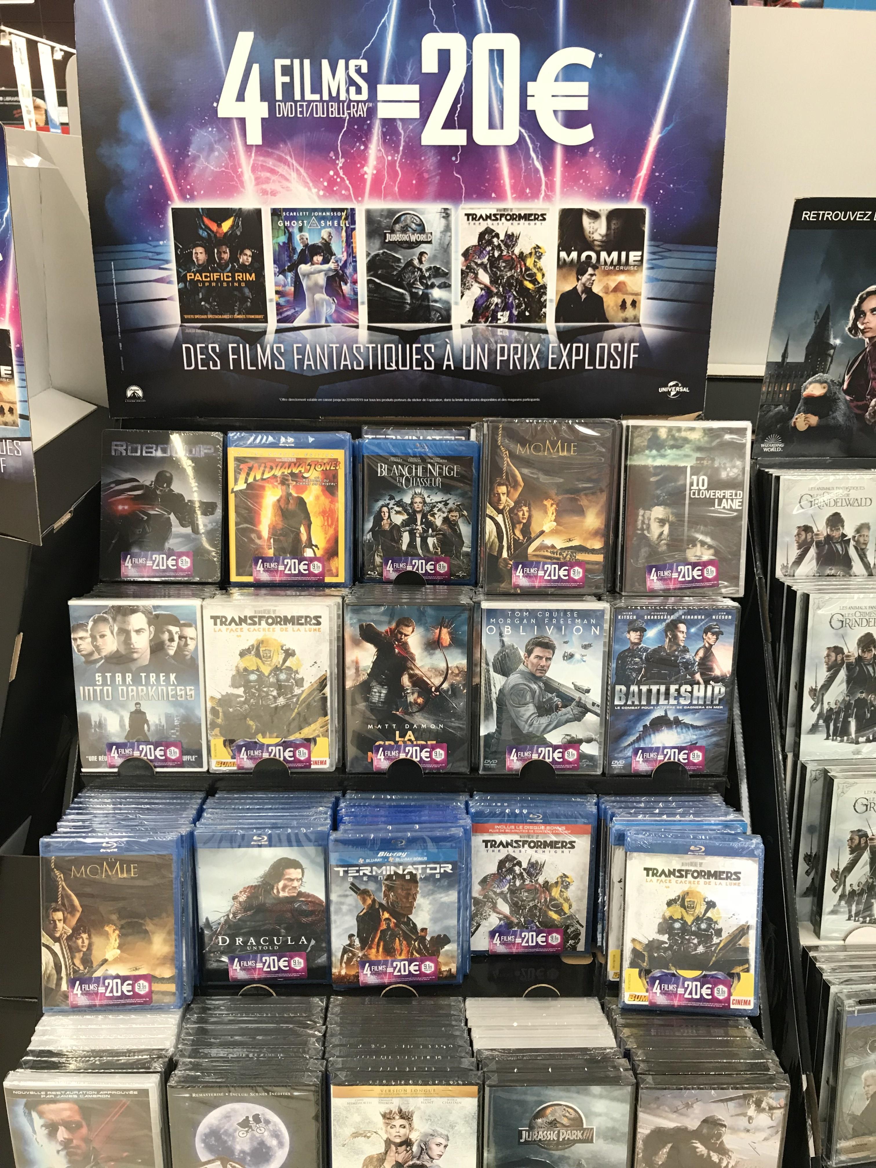 Lot de 4 DVD ou 4 Blu-ray au choix (soit 5€ pièce)