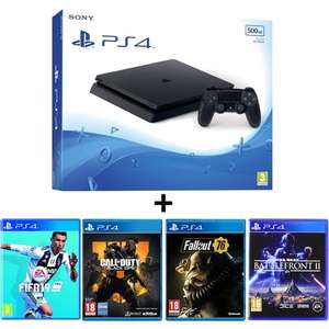 Console Sony PS4 Slim 500 Go + FIFA 19 + Call Of Duty Black Ops 4 + Fallout 76 + Battlefront 2
