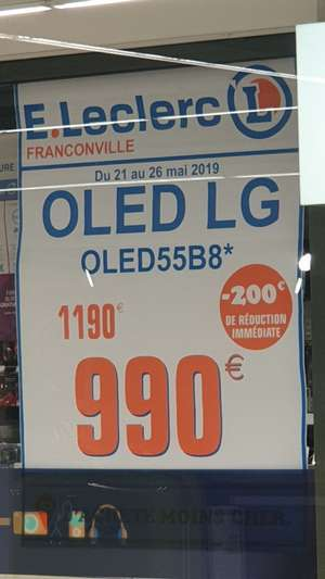 """TV 55"""" LG 55B8 (4K UHD, OLED, Smart TV) - Franconville (95)"""