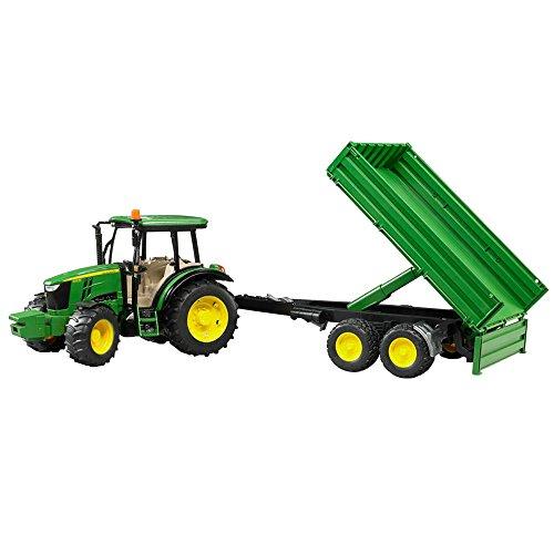 Jouet Tracteur Bruder John Deere vert avec remorque