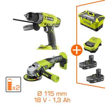 Pack d'outils Ryobi 18V : Perceuse à percussion + meuleuse - 2 bat Li-Ion 1,3Ah + toolbox & chargeur