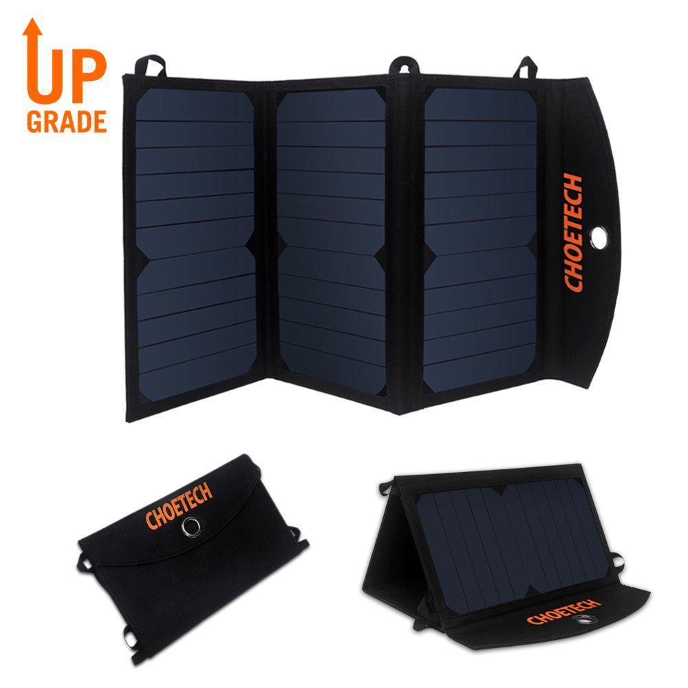 Chargeur panneau solaire pliable portable double ports USB 19W et Batterie 15600mAh gratuits