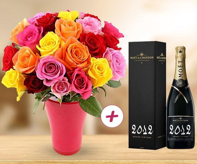 Livraison de 25 roses + Champagne Moët et Chandon Grand Vintage 2012