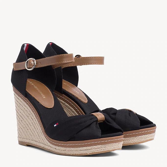 Sandales espadrilles Tommy Hilfiger Iconic à talon compensé - Tailles du 39 au 42, Noir