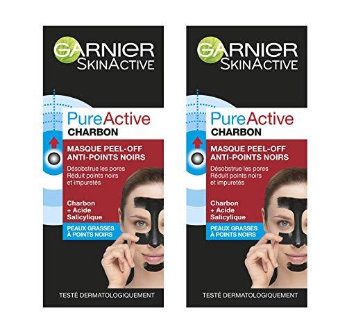 [Prime - Via Abonnement] Lot de 2 masques Garnier PureActive Charbon Peel-Off - anti-points noirs, 50 ml