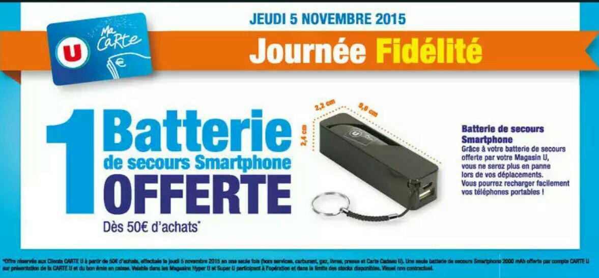 [Porteurs de la carte U] Batterie de secours 2000 mAh pour smartphone offerte dès 50€ d'achat