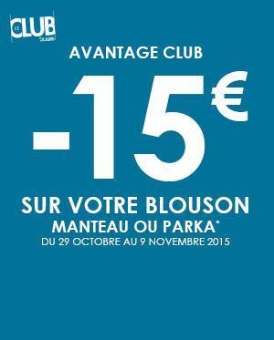 [Avantage Club] 15€ de réduction sur les blousons, manteaux ou parkas