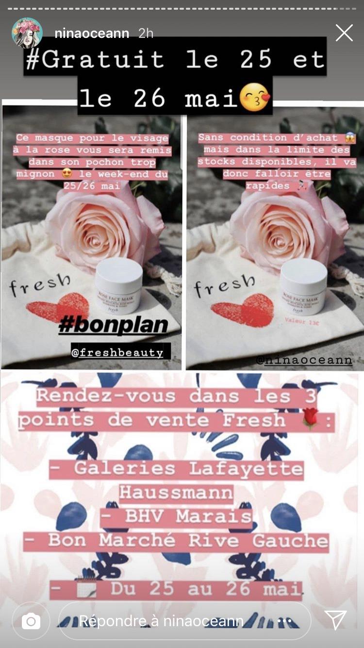 1 masque à la rose Fresh offert sans condition d'achat - Paris (75)