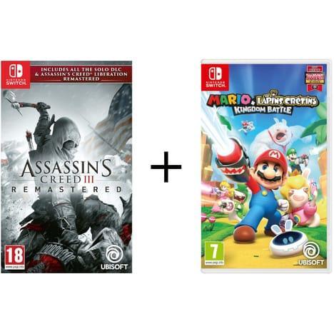 Sélection de packs de jeux Switch - Ex : Assassin's Creed III Remastered + Assassin's Creed Libération + Mario & Les Lapins Crétins