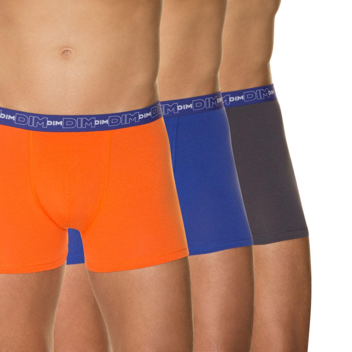 Lot de 3 boxers DIM couleurs mandarine, gris plomb et bleu roi
