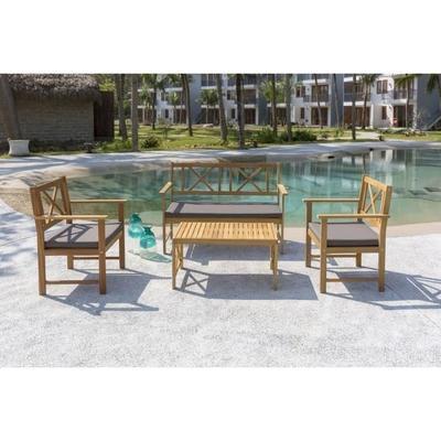 Salon de jardin 4 places - 1 table + 2 fauteuils + 1 banc en acacia (+ éventuelle Offre Spéciale)