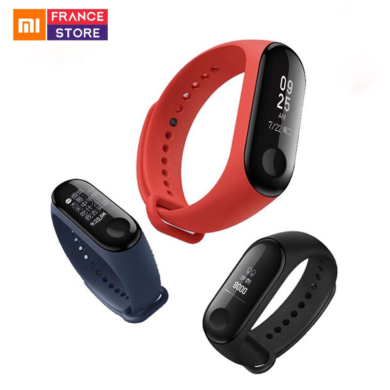 Bracelet connecté Xiaomi Mi Band 3 (noir) + 2ème de bracelet de rechange (différents coloris) + 2 protections d'écran