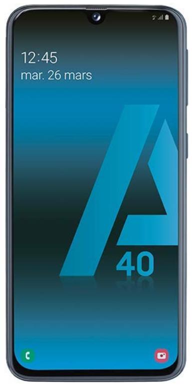 """Smartphone 5.9"""" Samsung Galaxy A40 - full HD+, Exynos 7904, 4 Go de RAM, 64 Go, noir (Vendeur tiers)"""