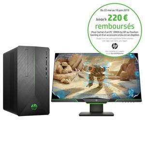 "PC de Bureau HP Pavilion 690-0042nf - i5-8400, 8 Go de Ram, 1 To + 128 Go SSD, GTX 1060 + Ecran PC 25"" Tactile (via ODR de 170€)"