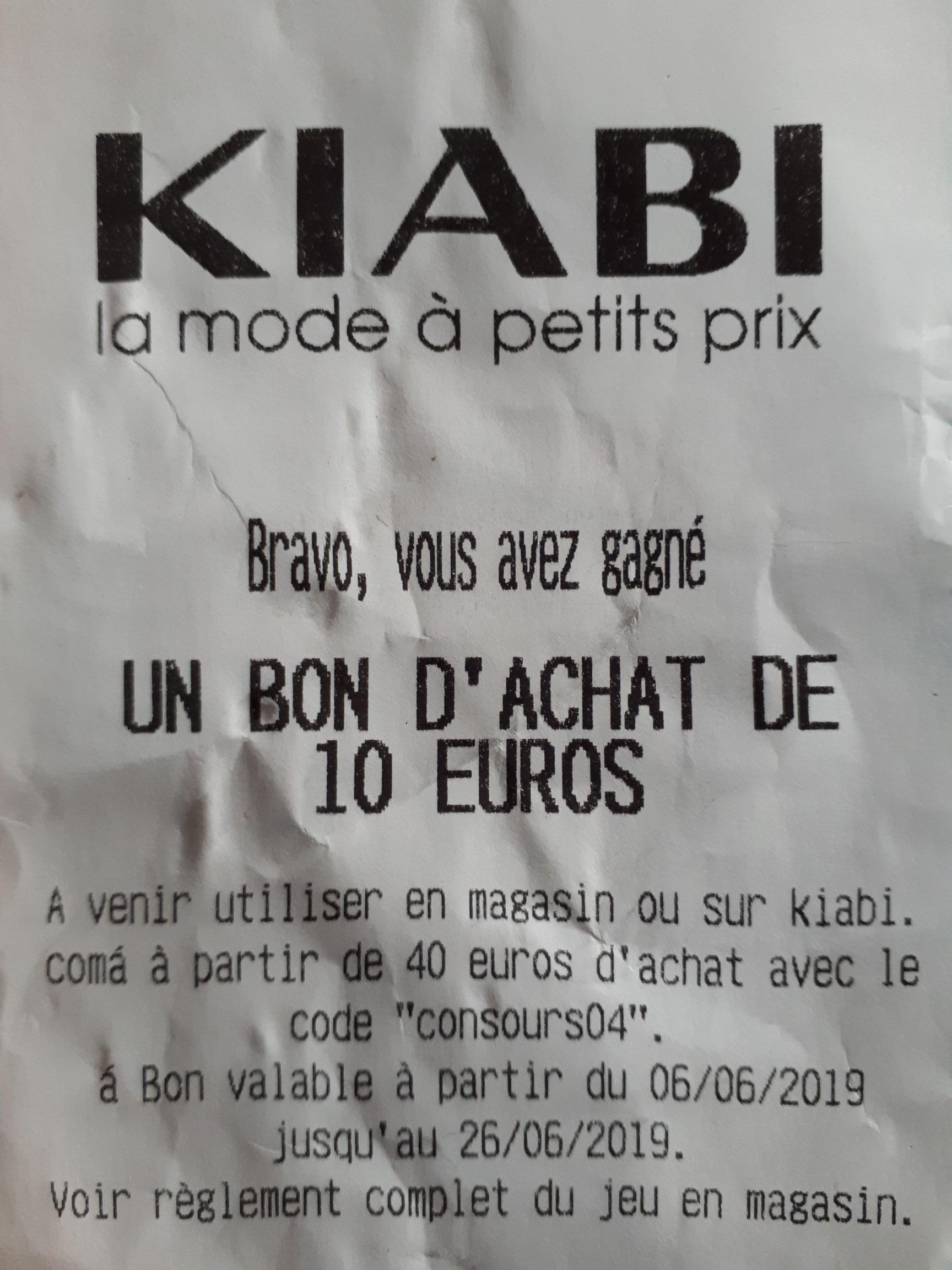 10€ de réduction dès 40€ d'achat