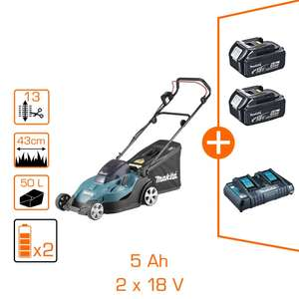 Tondeuse Makita 36V - 2x18V Li-Ion - coupe Ø43 cm - 2 bat Li-Ion 5Ah + chargeur