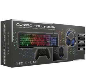 The G-Lab Combo Palladium Gaming : Clavier rétro-éclairé + Souris + casque X-Tra Bass + manette + tapis + 15€ Wonderbox offert