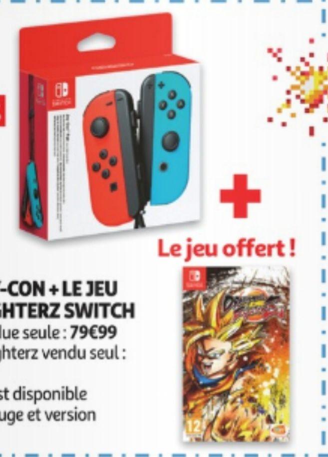 Une paire de Joy-Con + Dragon Ball Fighter Z sur Nintendo Switch