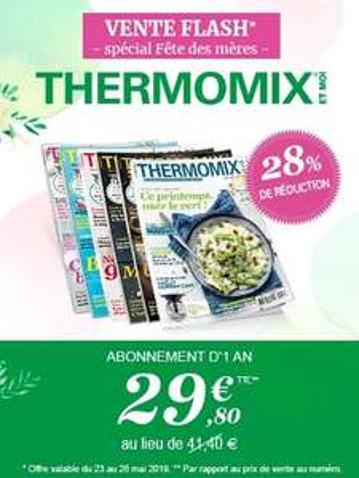 28% de réduction sur l'abonnement d'un an au magazine Thermomix et Moi - aboshop.fr