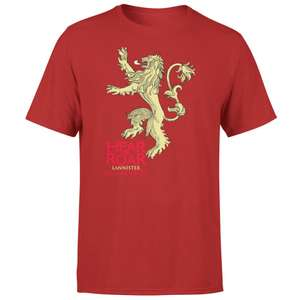 1 tee-shirt acheté parmi une sélection = 1 offert - Ex : lot de 2 tee-shirts Game of Thrones Lannister Hear Me Roar (rouge, du S au XXL)