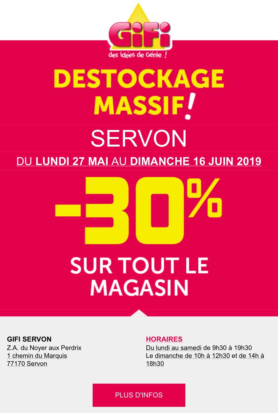 30% de réduction sur tout le magasin - Servon (77)
