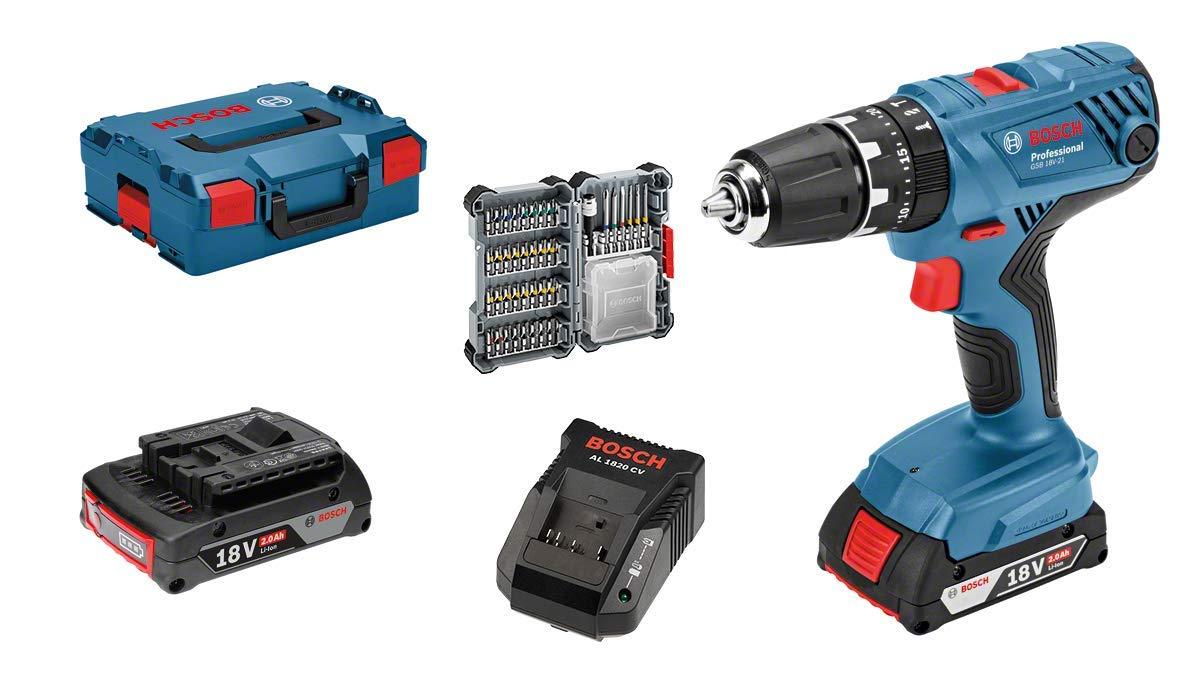 Perceuse-visseuse Bosch Pro GSB 18v-21 (+2 batterie) avec set d'accessoires 40 pièces (emballage L-Box)