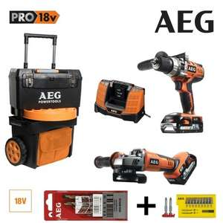 Perceuse Percussion + Meuleuse AEG 18V Li-Ion 1 batterie 4.0Ah + Batterie 2.0Ah 1 Trolley (superperfo.fr)