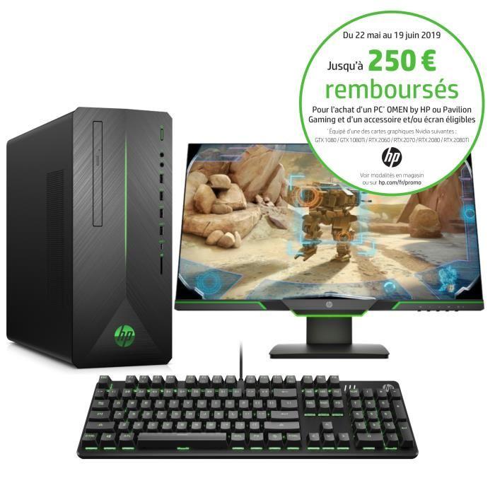 """PC fixe HP Pavilion 790-0015nf (GTX 1080 8Go, i5-8400, RAM 8Go, HDD 1To + SSD 128Go) + Ecran 24.5"""" HP 25x 144Hz + Clavier (Via ODR de 250€)"""