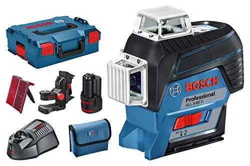 Laser de ligne Bosch GLL 3-80 C Professional - 3 plans, portée de 30 m, avec batterie 2.0 Ah et accessoires
