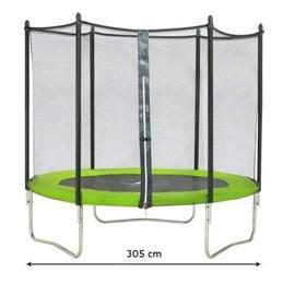 Trampoline Kangui Twin Duo 360 cm Vert avec Echelle et Filet de Protection