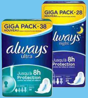 Giga Pack serviettes Always Ultra (2,94€ sur la carte et BDR de 1,40€)