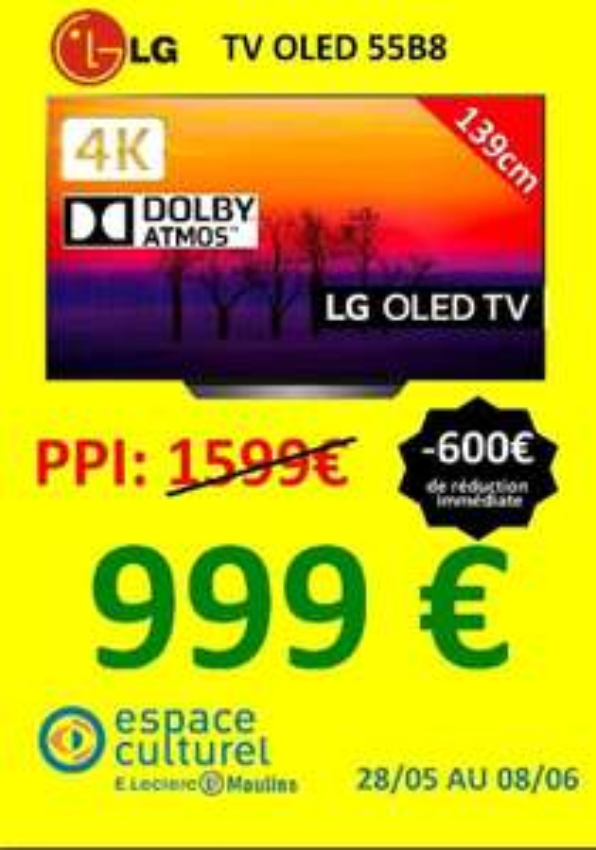 """TV 55"""" LG OLED55B8 - Moulins / Avermes (03) / Menneval (27)"""