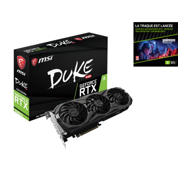 Carte graphique MSI GeForce RTX 2080 Duke  - 8 Go + Jeu Wolfenstein: Youngblood
