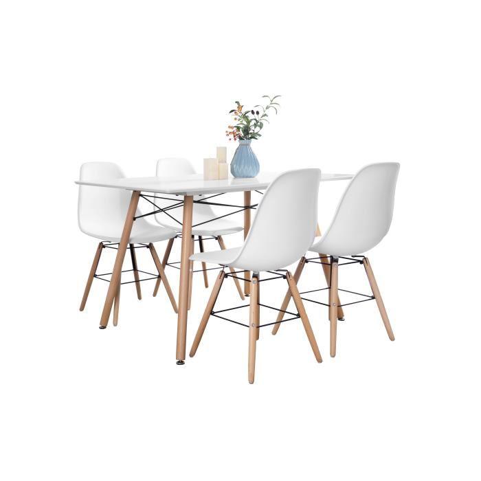 Ensemble table à manger 4 à 6 personnes London (120 cm x 80 cm) + 4 chaises scandinaves Argus V1
